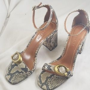 Coach Shoes - Coach Maya 7B Block Heel Front Logo Buckle Sandals
